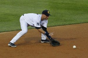 Derek Jeter with his feet flat so he can change levels.